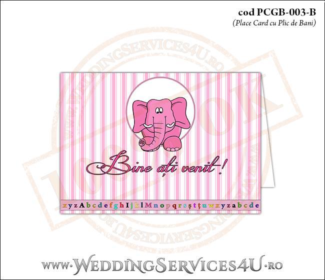 PCGB-003-B Place Card cu Plic de Bani sigilabil pentru Botez cu elefantel
