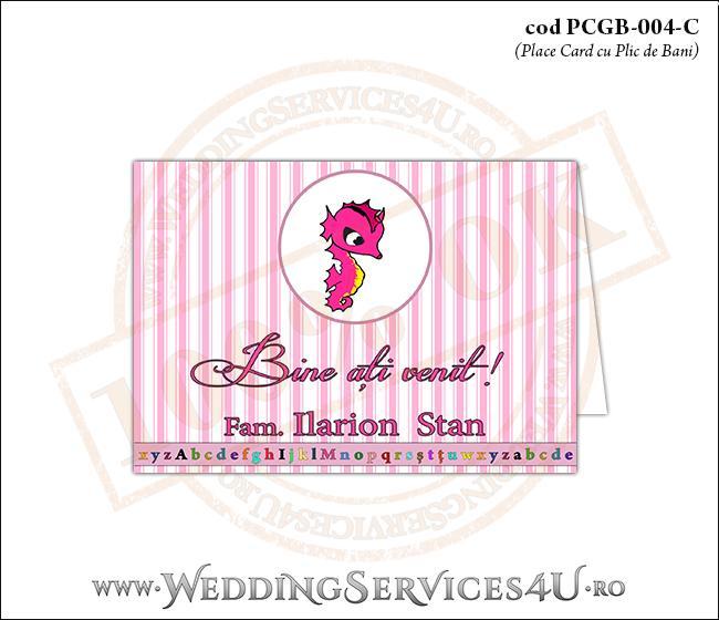 PCGB-004-C Place Card cu Plic de Bani sigilabil pentru Botez cu calut de mare