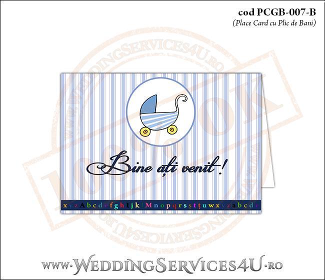 PCGB-007-B Place Card cu Plic de Bani sigilabil pentru Botez cu carucior de copii