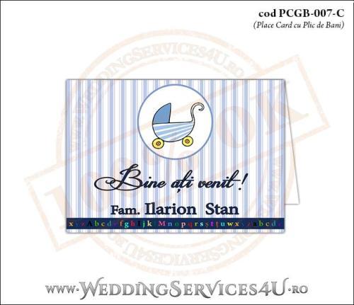 PCGB-007-C Place Card cu Plic de Bani sigilabil pentru Botez cu carucior de copii
