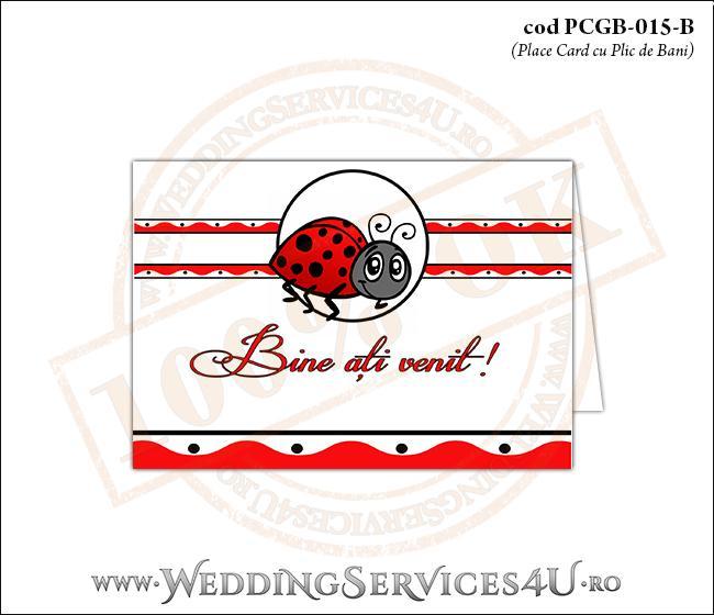 PCGB-015-B Place Card cu Plic de Bani sigilabil pentru Botez cu motive populare romanesti si gargarita