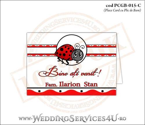 PCGB-015-C Place Card cu Plic de Bani sigilabil pentru Botez cu motive populare romanesti si gargarita