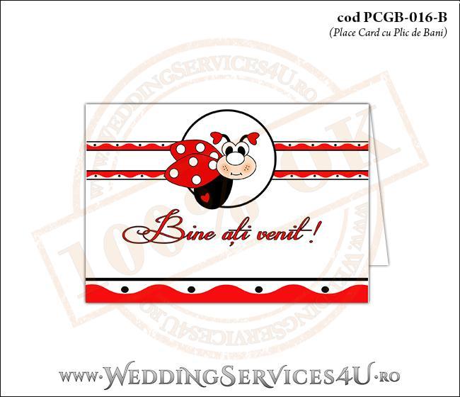 PCGB-016-B Place Card cu Plic de Bani sigilabil pentru Botez cu motive populare romanesti si gargarita