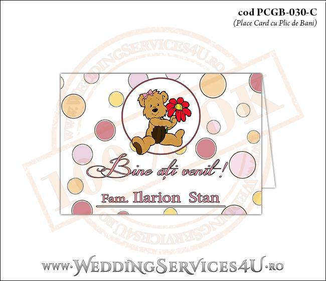 PCGB-030-C Place Card cu Plic de Bani sigilabil pentru Botez cu ursulet