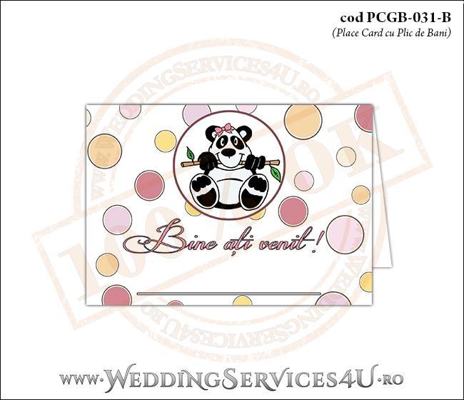 PCGB-031-B Place Card cu Plic de Bani sigilabil pentru Botez cu urs panda
