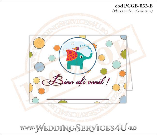 PCGB-033-B Place Card cu Plic de Bani sigilabil pentru Botez cu elefantel si vrabiuta