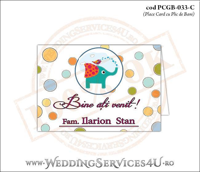 PCGB-033-C Place Card cu Plic de Bani sigilabil pentru Botez cu elefantel si vrabiuta