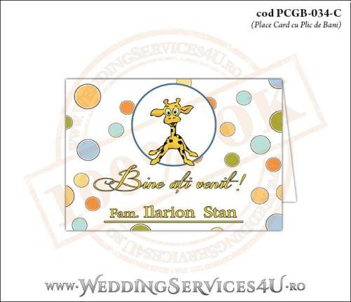 PCGB-034-C Place Card cu Plic de Bani sigilabil pentru Botez cu cu pui de girafa