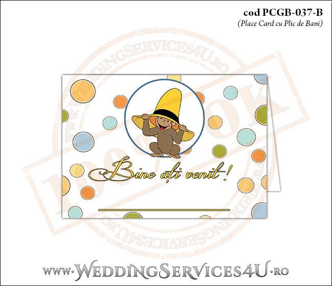 PCGB-037-B Place Card cu Plic de Bani sigilabil pentru Botez cu pui de maimutica