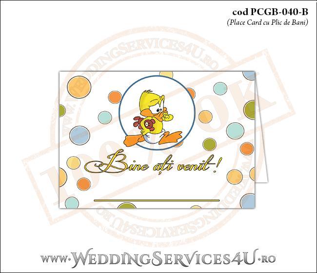 PCGB-040-B Place Card cu Plic de Bani sigilabil pentru Botez cu bebe ratusca