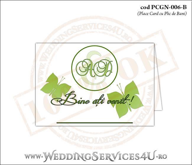 PCGN-006-B Place Card cu Plic de Bani sigilabil pentru Nunta sau Botez cu flori si fluturi in nuante verzi