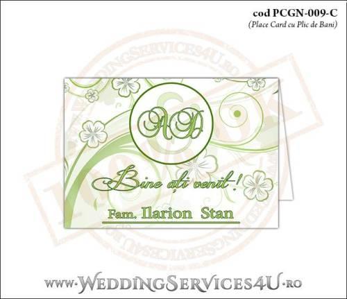 PCGN-009-C Place Card cu Plic de Bani sigilabil pentru Nunta sau Botez cu flori albe cu contur verde