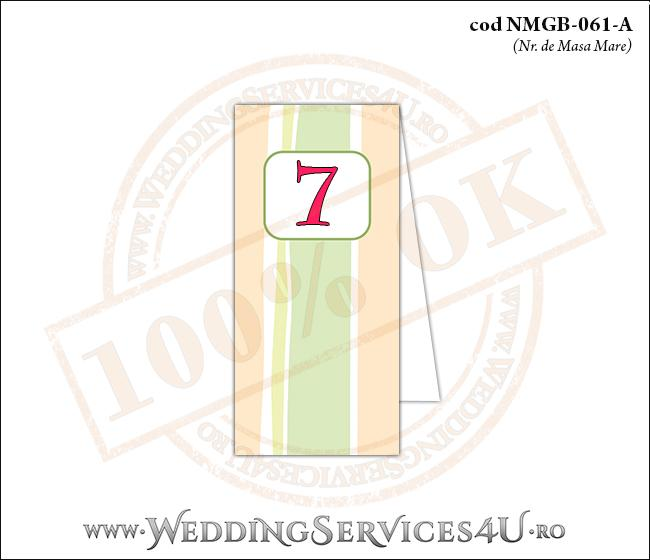 NMGB-061-A Numar de Masa pentru Botez cu dungi pastel