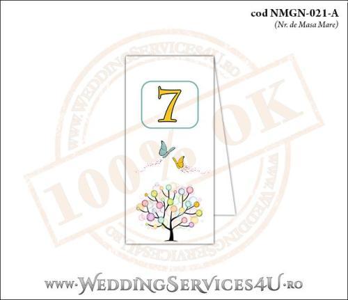 NMGN-021-A Numar de Masa pentru Nunta sau Botez cu un copac mare din picaturi colorate de vopsea si doi fluturi pictati