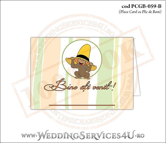 PCGB-059-B Place Card cu Plic de Bani sigilabil pentru Botez cu pui de maimutica