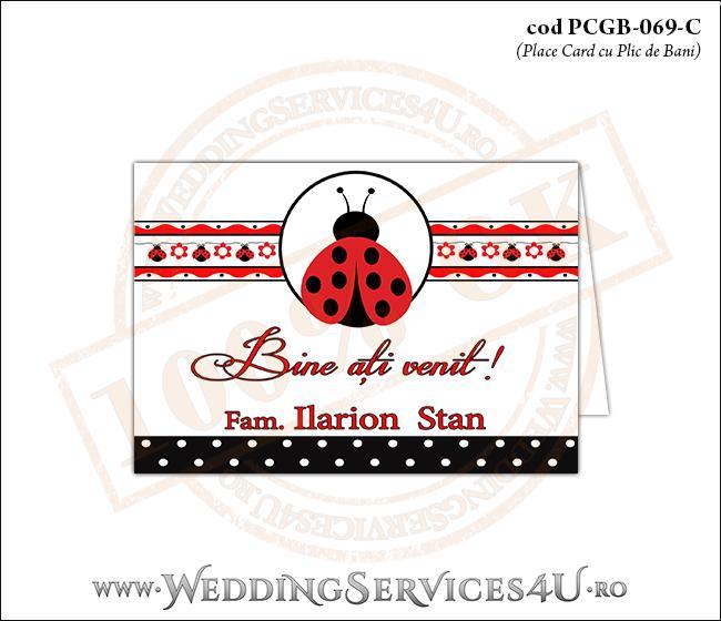 PCGB-069-C Place Card cu Plic de Bani sigilabil pentru Botez cu gargarita si motive traditionale romanesti