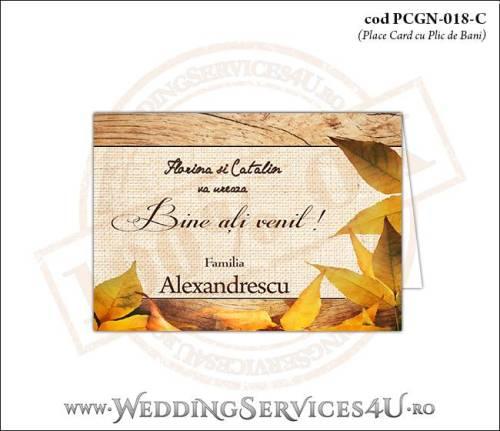 PCGN-018-C Place Card cu Plic de Bani sigilabil pentru Nunta sau Botez cu tematica de toamna