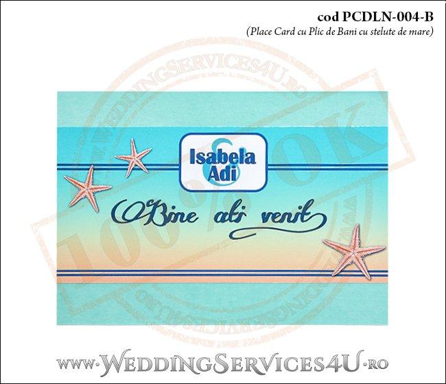 PCDLN-004-B place card cu plic de bani nunta botez turcoaz cu tematica marina si stelute de mare