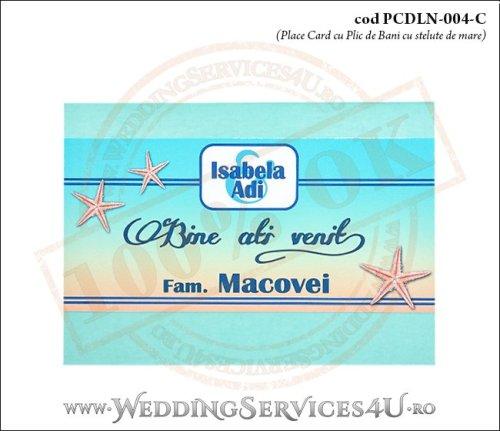 PCDLN-004-C-01 place card cu plic de bani nunta botez turcoaz cu tematica marina si stelute de mare