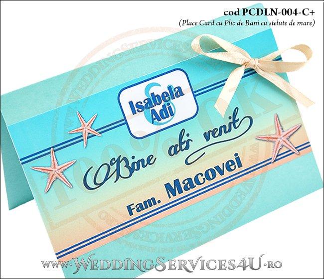 PCDLN-004-C+-02 place card cu plic de bani nunta botez turcoaz cu tematica marina si stelute de mare