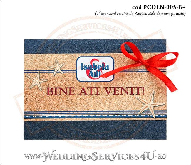 PCDLN-005-B+ place card cu plic de bani nunta botez albastru marin cu tematica marina si stele de mare pe nisip