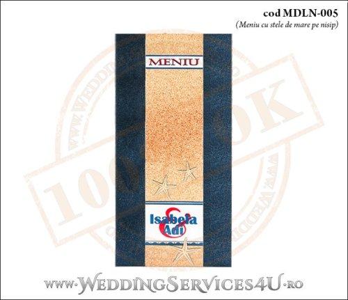 MDLN-005-01 meniu nunta botez albastru marin cu tematica marina si stele de mare pe nisip