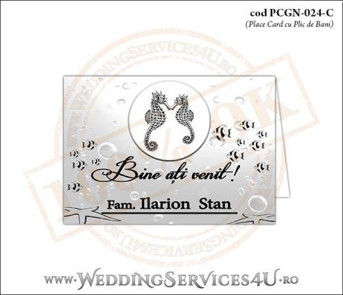 PCGN-024-C Place Card cu Plic de Bani sigilabil pentru Nunta sau Botez ccu tematica marina (cu calut de mare, steluta de mare si pestisori)