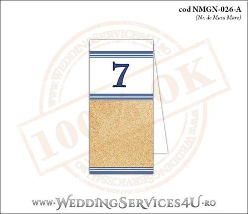 NMGN-026-A Numar de Masa pentru Nunta sau Botez cu tematica marina imprimat cu nisip de mare si dungi albastre
