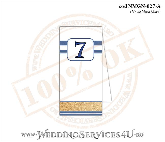 NMGN-027-A Numar de Masa pentru Nunta sau Botez cu tematica marina imprimat cu nisip de mare si dungi albastre