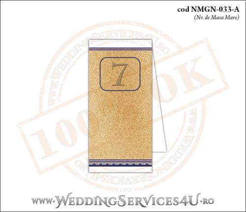 NMGN-033-A Numar de Masa pentru Nunta sau Botez cu tematica marina (cu fundal de nisip cu motive grecesti si stelute de mare)