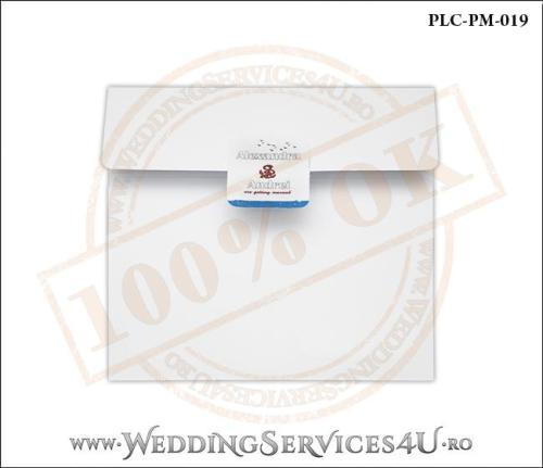 Plic Patrat pentru invitatie de Nunta Colorat Personalizat cu tematica marina realizat din carton alb mat cu Monograma Aplicata. PLC-PM-019-1