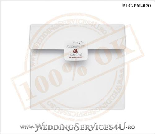 Plic Patrat pentru invitatie de Nunta Colorat Personalizat cu tematica marina realizat din carton alb mat cu Monograma Aplicata. PLC-PM-020-1