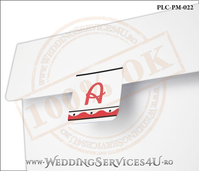Plic Patrat pentru invitatie de Botez Colorat Personalizat realizat din carton alb mat cu Monograma Aplicata. PLC-PM-022-2