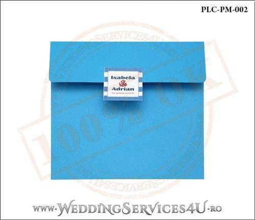 Plic Patrat pentru invitatie de Nunta Colorat Personalizat cu tematica marina realizat din carton albastru mat cu Monograma Aplicata. PLC-PM-002-1