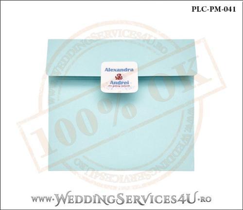 Plic Patrat Invitatie Nunta-Botez PLC-PM-041- Bleu