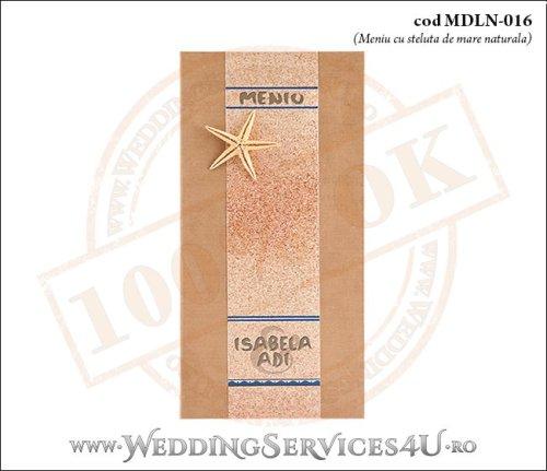 MDLN-016-01 meniu nunta botez lemnos maro crem cu tematica marina si steluta de mare naturala