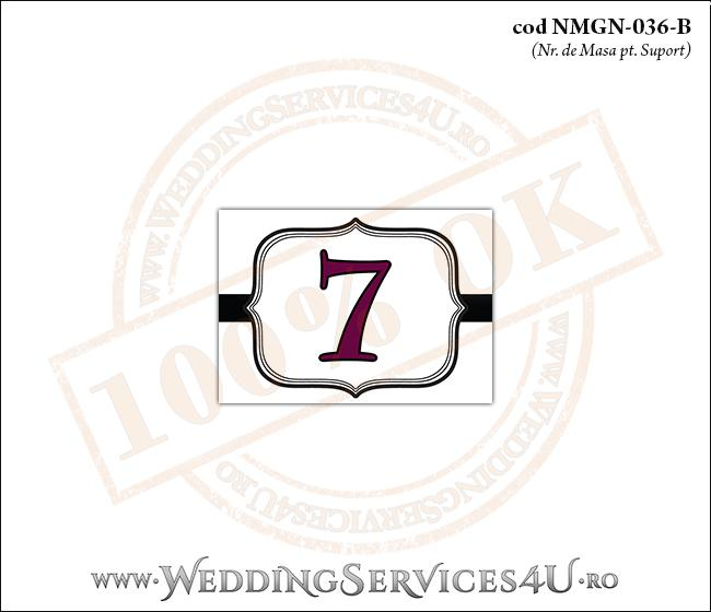 NMGN-036-B Numar de Masa pentru Nunta sau Botez cu grafica alb-negru eleganta pe stil clasicretroroyal