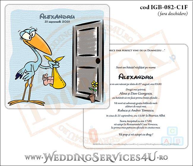 IGB-082-C1F Invitatie de Botez cu o barza 'livrand' un bebelus la usa casei (baby delivery)