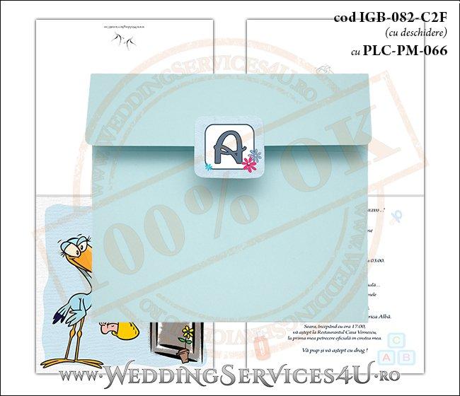 IGB-082-C2F cu PLC-PM-066 Invitatie de Botez cu o barza 'livrand' un bebelus la usa casei (baby delivery)