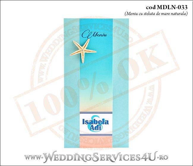 MDLN-033-01 meniu nunta botez turcoaz cu tematica marina si steluta de mare naturala