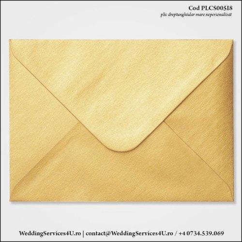 PLCS005i8 Plic Colorat Auriu Sidefat pentru Invitatie Mare de Nunta Botez