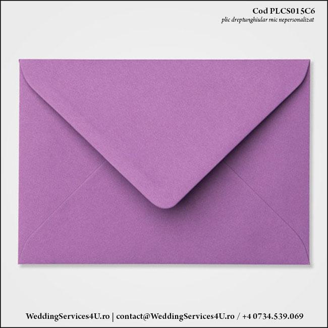 PLCS015C6 Plic Colorat Mov pentru Invitatie Mica de Nunta Botez