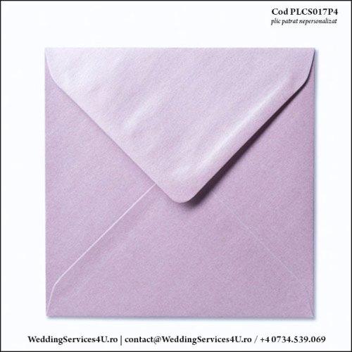 PLCS017P4 Plic Colorat Lila Sidefat pentru Invitatie Patrata de Nunta Botez