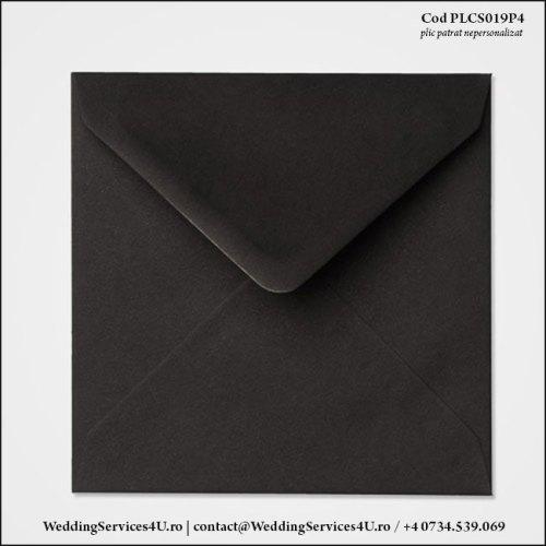 PLCS019P4 Plic Colorat Negru pentru Invitatie Patrata de Nunta Botez