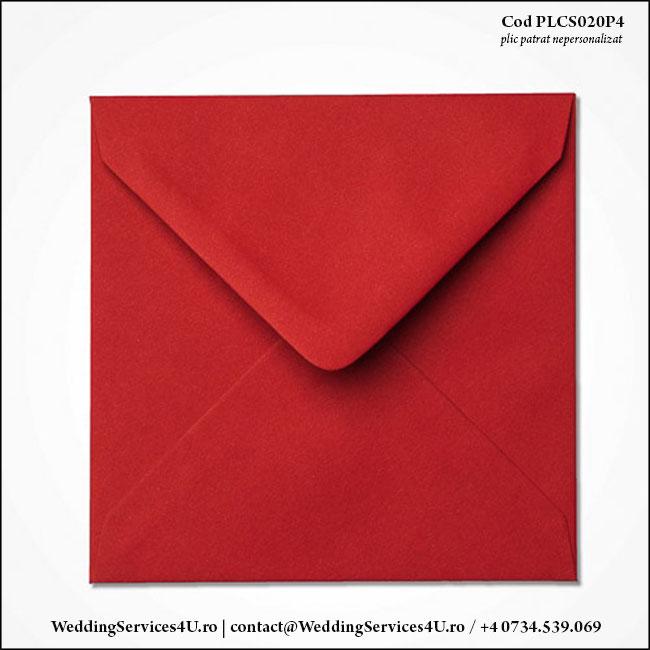 PLCS020P4 Plic Colorat Grena Rosu Inchis pentru Invitatie Patrata de Nunta Botez