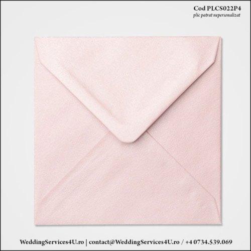 PLCS022P4 Plic Colorat Roz Sidefat pentru Invitatie Patrata de Nunta Botez