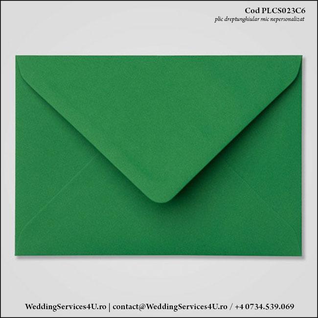 PLCS023C6 Plic Colorat Verde Inchis pentru Invitatie Mica de Nunta Botez
