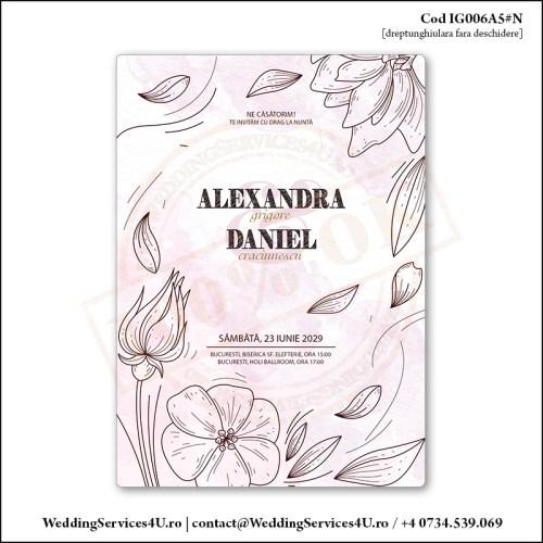 IG006A5#N Invitatie de Nunta Florala pe nuante de Roz cenusiu Cod IG006A56#N
