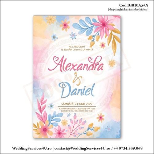 IG010A5#N Invitatie de Nunta Florala cu Flori Colorate gen Watercolor Painting (Acuarela) Cod IG010A56#N