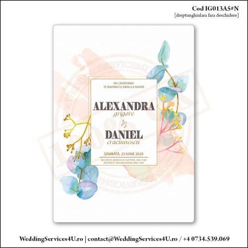 IG013A5#N Invitatie de Nunta cu Eucalipt gen Watercolor Painting (Acuarela) Cod IG013A56#N